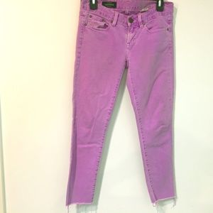 J. Crew Toothpink Misses26 raw ankle purple jeans